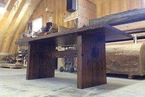 reclaimed timber table-modern trestle