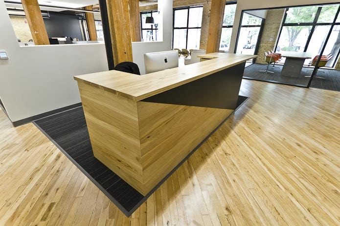Pai Elm Steel Reception Desk