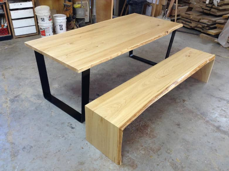 Wood Anchor Live Edge Elm Dining Table Amp Bench