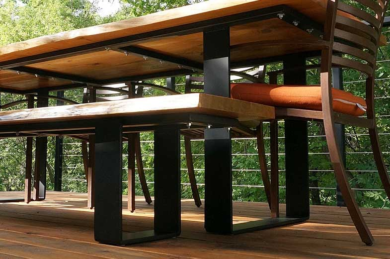 Wood Anchor Live Edge Oak Patio Table And Bench